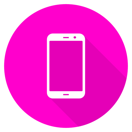 technological and communication: smartphone flat pink icon Stock Photo