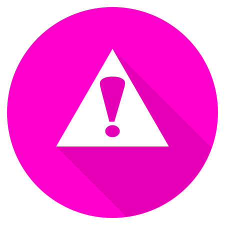 exclamation sign: exclamation sign flat pink icon Stock Photo