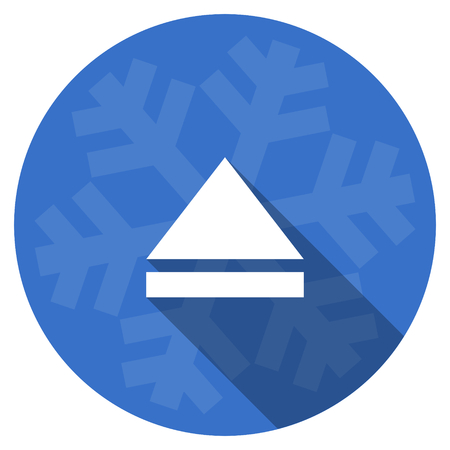 eject icon: eject blue flat design christmas winter web icon with snowflake Stock Photo