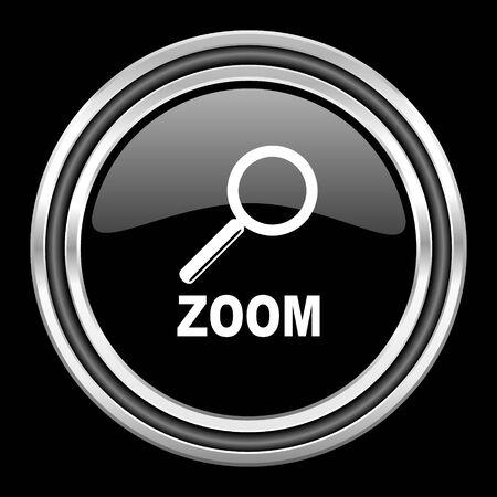 black metallic background: zoom silver chrome metallic round web icon on black background