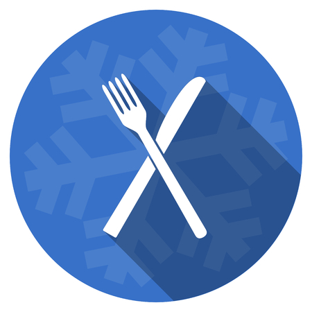 restaurant blue flat design christmas winter web icon with snowflake