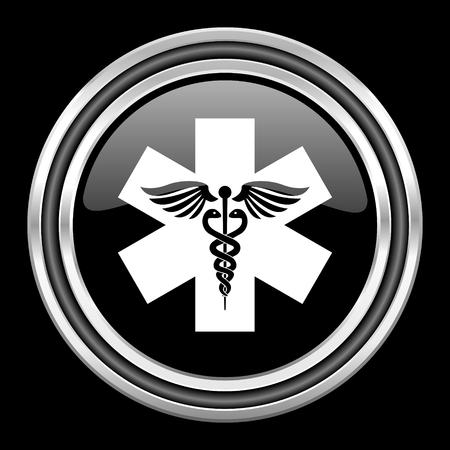 emergency silver chrome metallic round web icon on black background