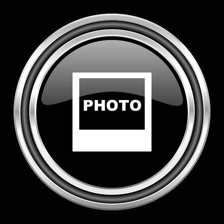 black metallic background: photo silver chrome metallic round web icon on black background