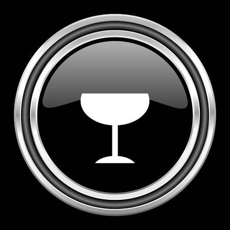 black metallic background: alcohol  silver chrome metallic round web icon on black background