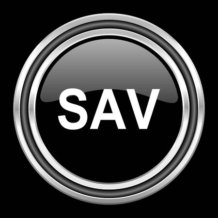 black metallic background: sav silver chrome metallic round web icon on black background