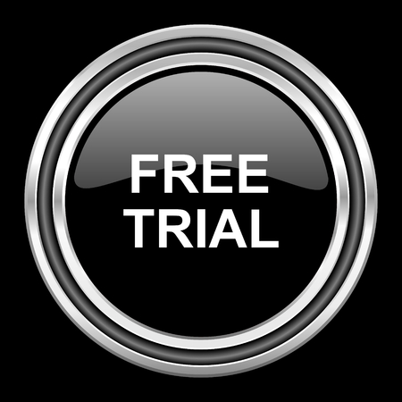 gratuity: free trial silver chrome metallic round web icon on black background Stock Photo