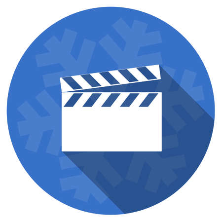 hollywood christmas: video blue flat design christmas winter web icon with snowflake