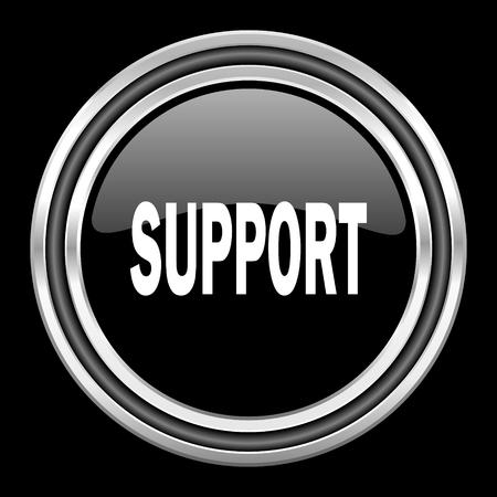 black metallic background: support silver chrome metallic round web icon on black background