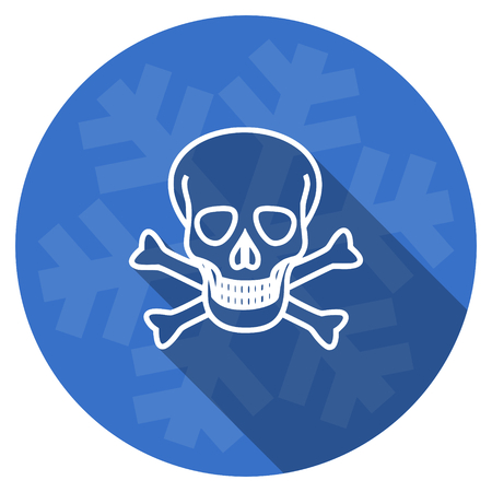 pirating: skull blue flat design christmas winter web icon with snowflake Stock Photo