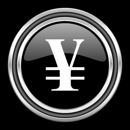 black metallic background: yen silver chrome metallic round web icon on black background
