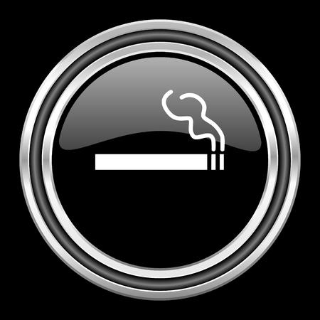 black metallic background: cigarette silver chrome metallic round web icon on black background