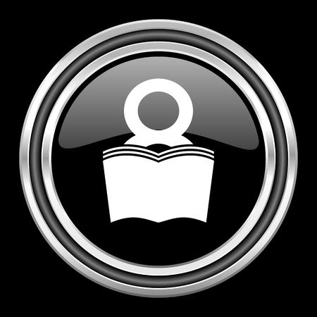 book silver chrome metallic round web icon on black background Stock Photo