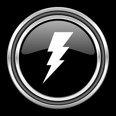 amperage: bolt silver chrome metallic round web icon on black background Stock Photo