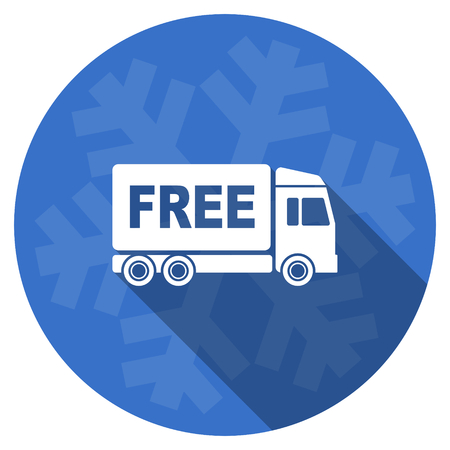 d�livrance: free delivery blue flat design christmas winter web icon with snowflake Banque d'images