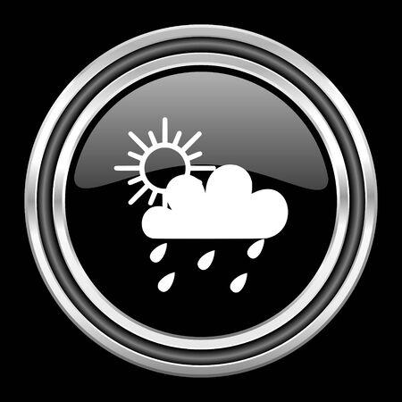 black metallic background: rain silver chrome metallic round web icon on black background