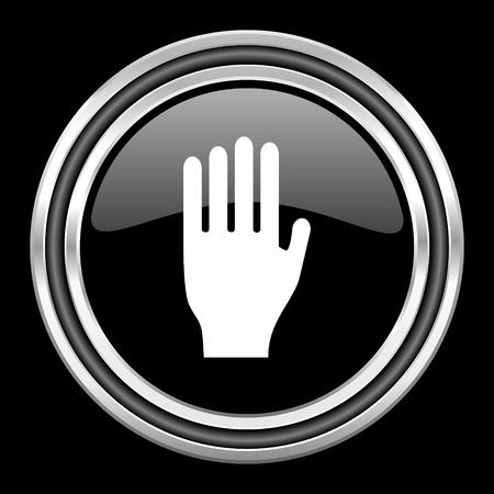the coachman: stop silver chrome metallic round web icon on black background Stock Photo