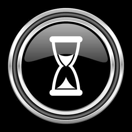 black metallic background: time silver chrome metallic round web icon on black background