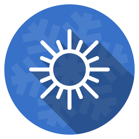 sun blue flat design christmas winter web icon with snowflake Stock Photo