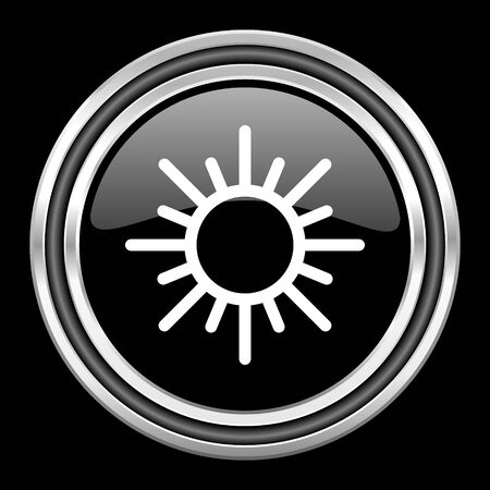 black metallic background: sun silver chrome metallic round web icon on black background