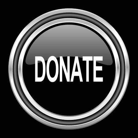 black metallic background: donate silver chrome metallic round web icon on black background Stock Photo