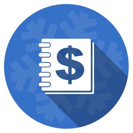 christmas savings: money blue flat design christmas winter web icon with snowflake