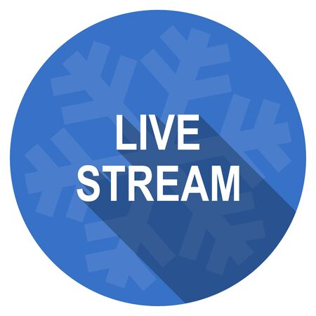 live stream movie: live stream blue flat design christmas winter web icon with snowflake