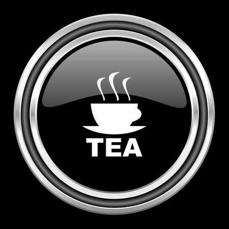 black metallic background: tea silver chrome metallic round web icon on black background