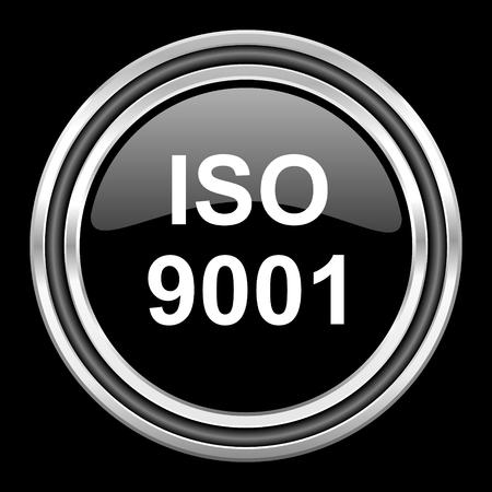 iso 9001 silver chrome metallic round web icon on black background