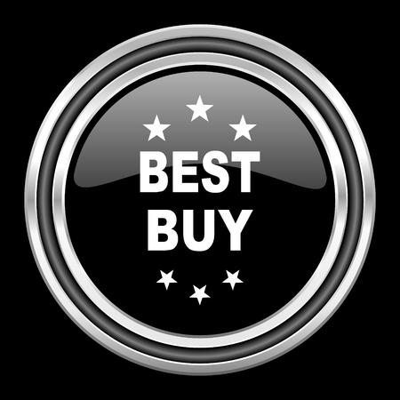best buy: best buy silver chrome metallic round web icon on black background