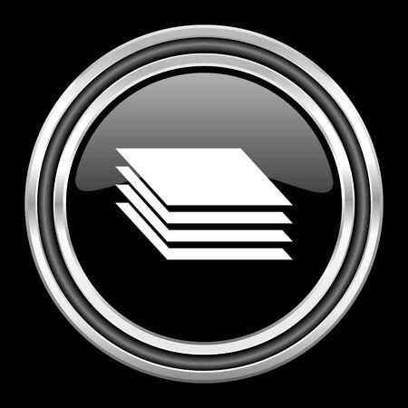 black metallic background: layers silver chrome metallic round web icon on black background