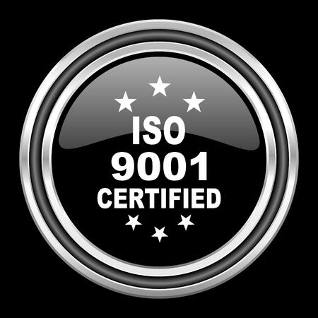 standard steel: iso 9001 silver chrome metallic round web icon on black background