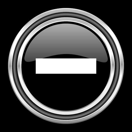 black metallic background: minus silver chrome metallic round web icon on black background