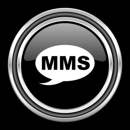 mms: mms silver chrome metallic round web icon on black background