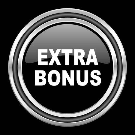 discounting: extra bonus silver chrome metallic round web icon on black background Stock Photo