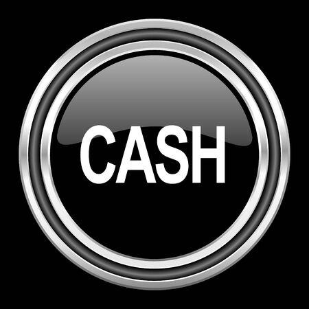 black metallic background: cash silver chrome metallic round web icon on black background