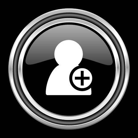 add contact silver chrome metallic round web icon on black background Stock Photo