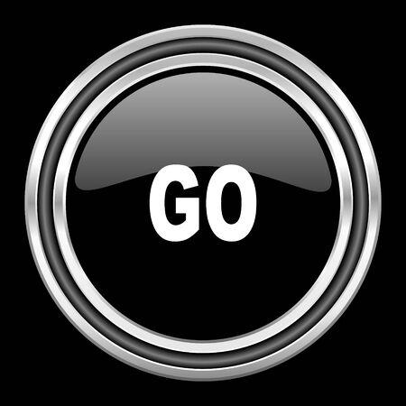black metallic background: go silver chrome metallic round web icon on black background