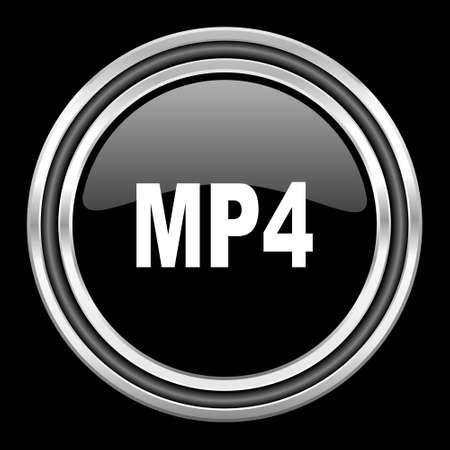 mp4: mp4 silver chrome metallic round web icon on black background