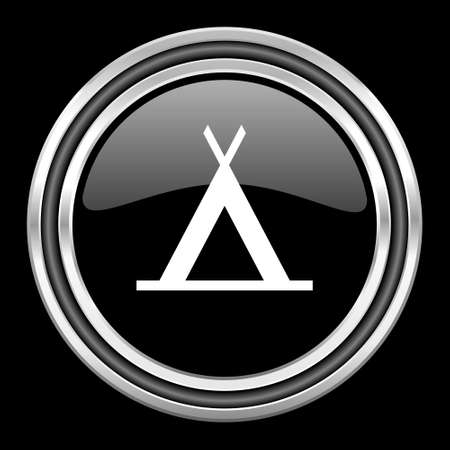 camp silver chrome metallic round web icon on black background Stock Photo
