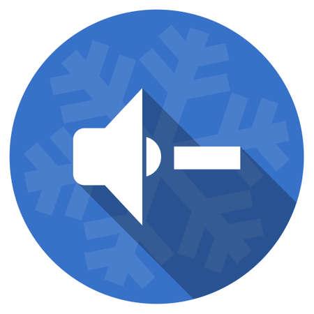 fiestas electronicas: speaker volume blue flat design christmas winter web icon with snowflake Foto de archivo