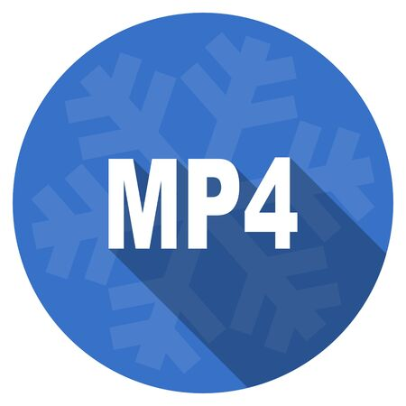 mp4: mp4 blue flat design christmas winter web icon with snowflake