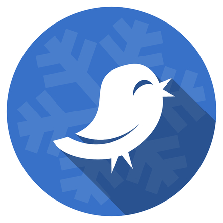 twitter blue flat design christmas winter web icon with snowflake Stock Photo
