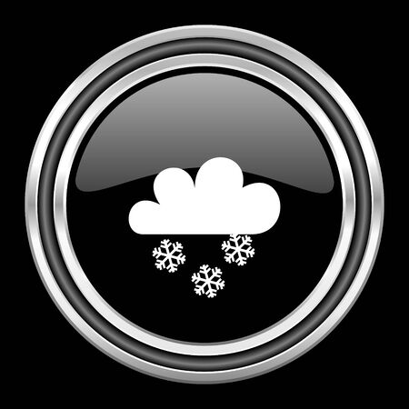 black metallic background: snowing silver chrome metallic round web icon on black background