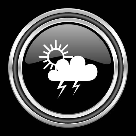 storm silver chrome metallic round web icon on black background Stock Photo