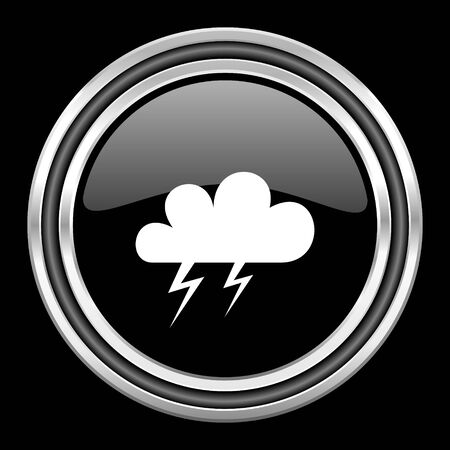 black metallic background: storm silver chrome metallic round web icon on black background Stock Photo