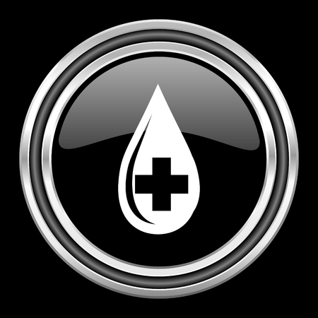 black metallic background: blood silver chrome metallic round web icon on black background
