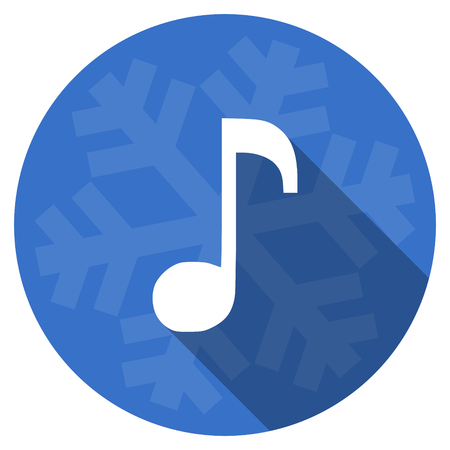 melodic: music blue flat design christmas winter web icon with snowflake