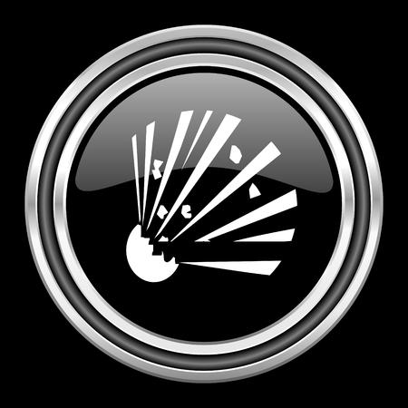 black metallic background: bomb silver chrome metallic round web icon on black background