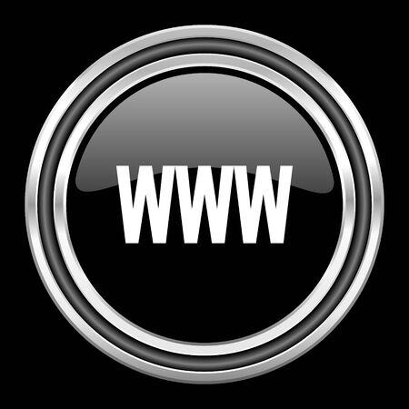 black metallic background: www silver chrome metallic round web icon on black background