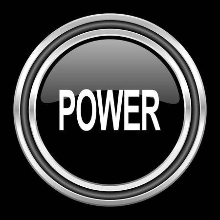 black metallic background: power silver chrome metallic round web icon on black background
